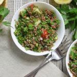 healthy quinoa tabouli overhead
