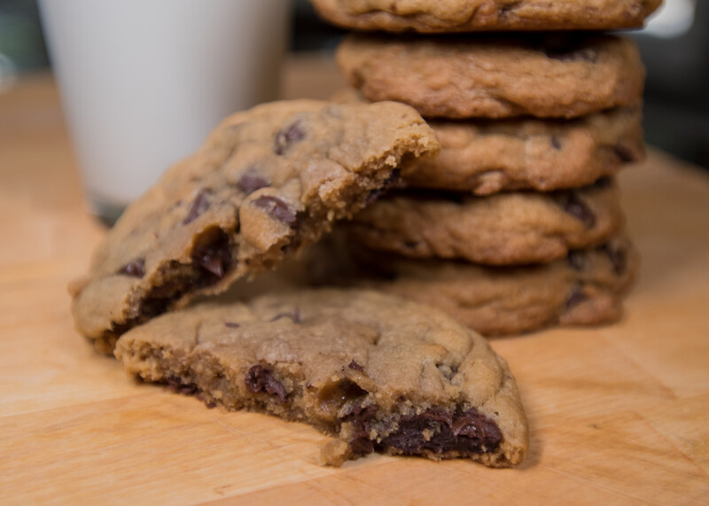 stack of gooey chocolate chip cookies