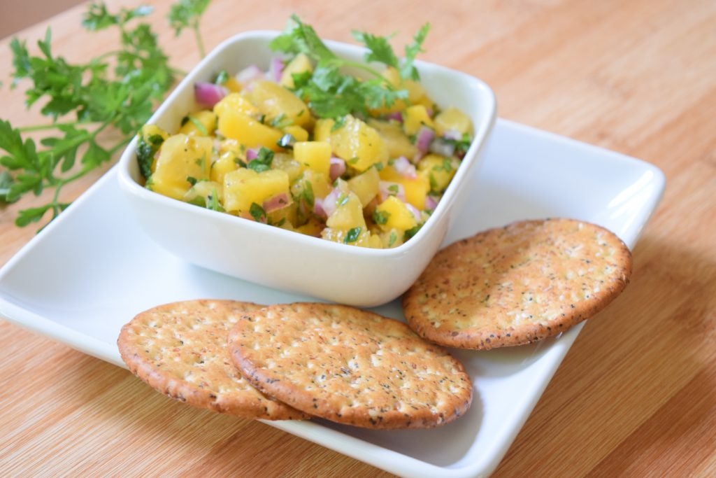 Diabetes Myths about snacking on pineapple salsa and crackers