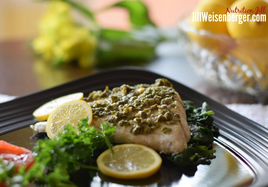 quick healthy fish recipe with lemon mustard caper sauce