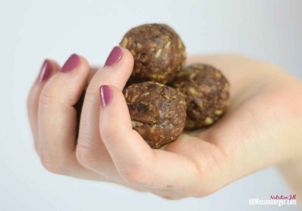 Chocolate Peanut Butter Balls in Hand