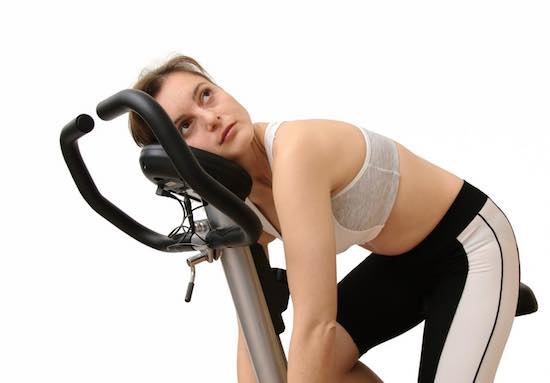 Tired lady exercise for weight loss