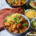 lentil and sweet potato chili with topings