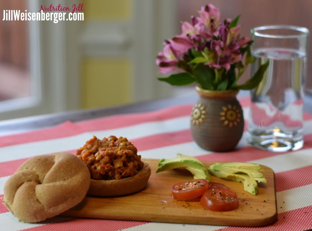 Lentil Sloppy Joes on a bun