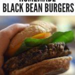 black bean burger recipe image with text