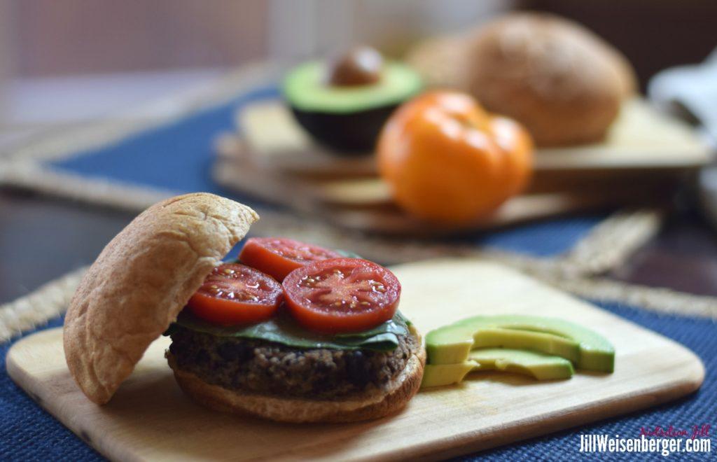 Black bean burger platter