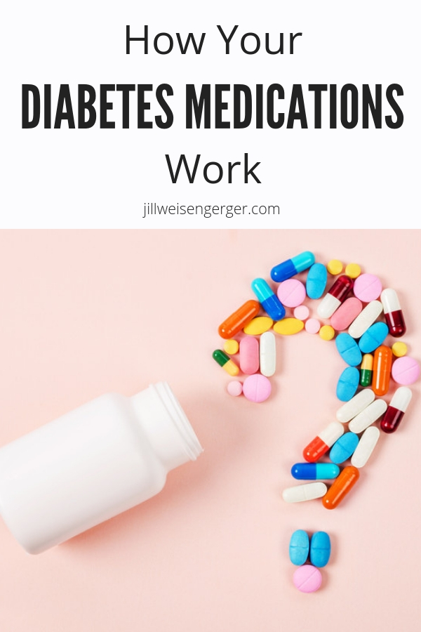 Did you know that your type 2 diabetes medications don't just lower your blood sugar? Most of them actually target the problem that causes high blood sugar. Here's everything you wanted to know about how your diabetes medications work | @nutritionjill | #nutritionjill | #diabetes | #diabetesmanagement | #bloodsugar