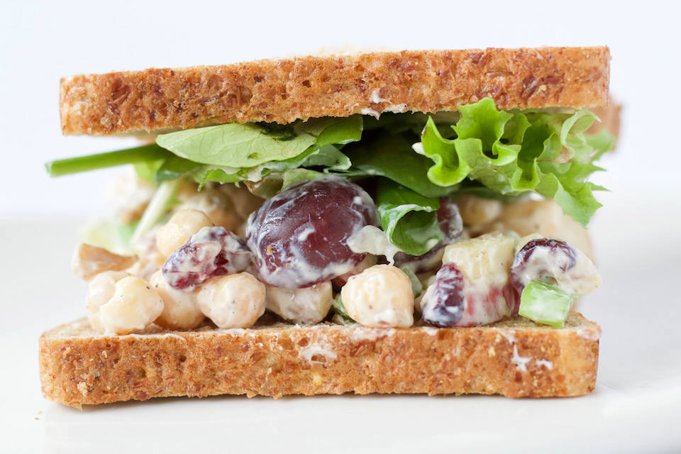 Chickpea Waldorf Salad Recipe Sandwich Close Up