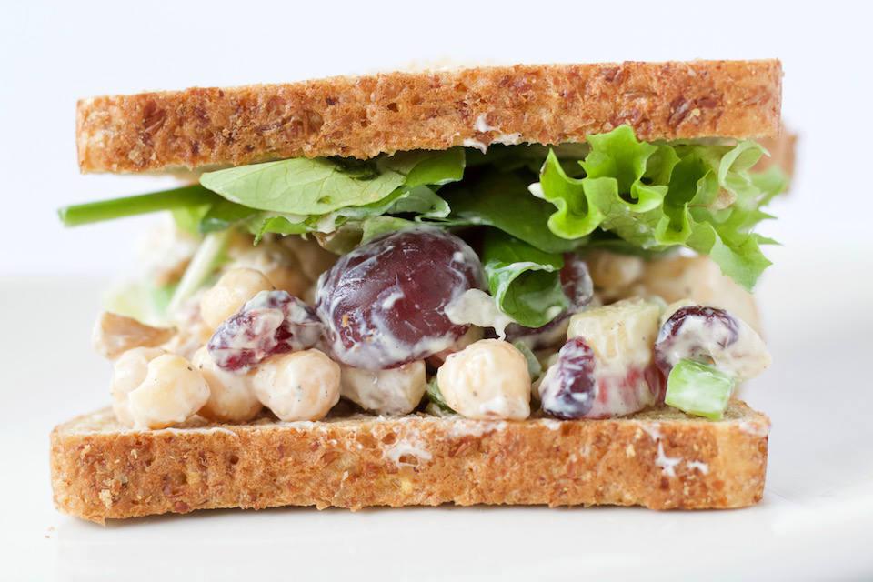 Chickpea Waldorf Salad Recipe Sandwich Close Up
