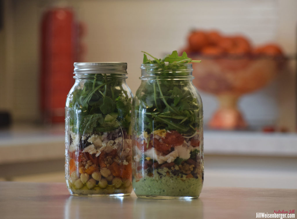 high fiber salads in mason jars