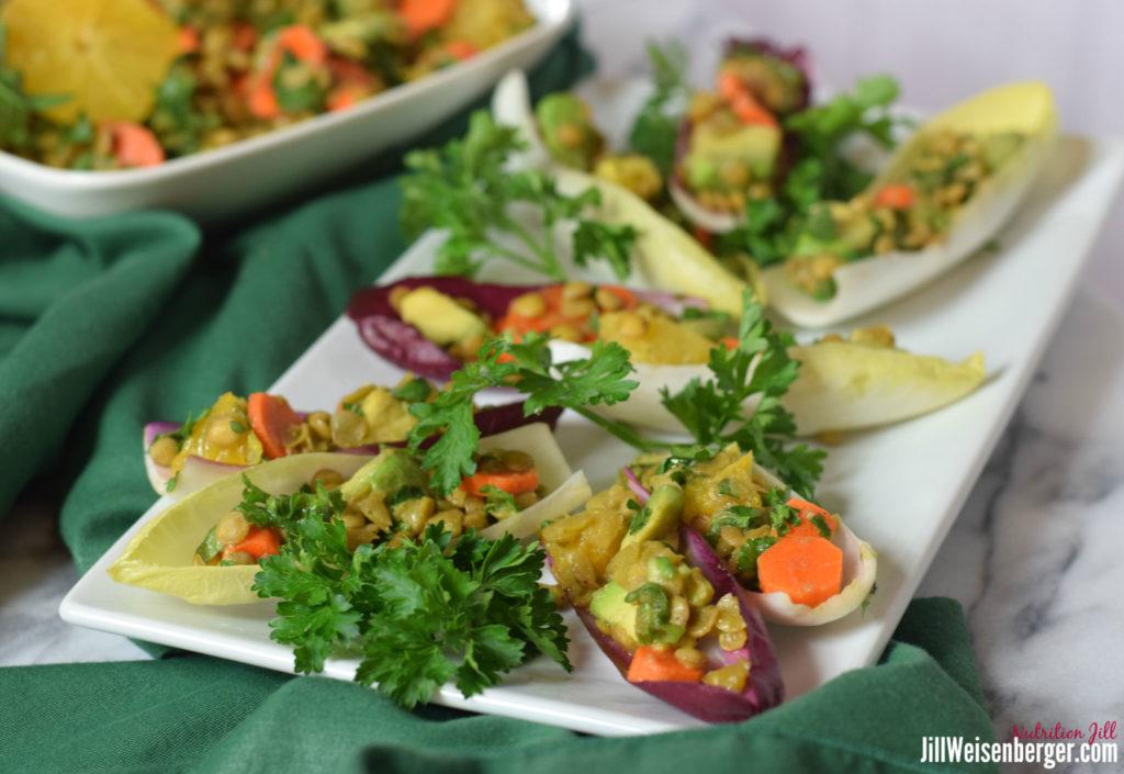 healthy lentil salad recipe in endive leaves