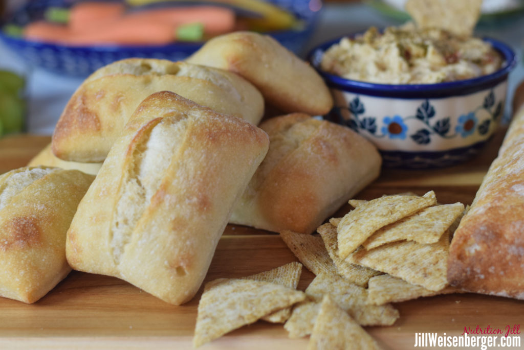 hummus, crackers and bread