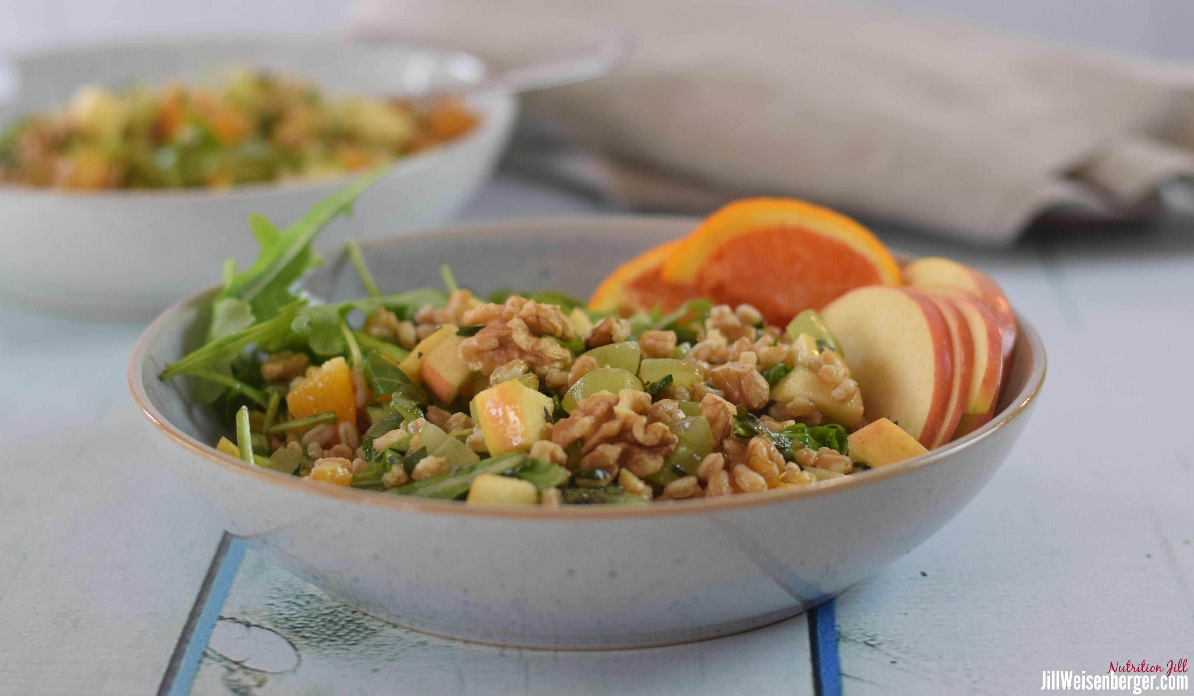 farro salad in bowls