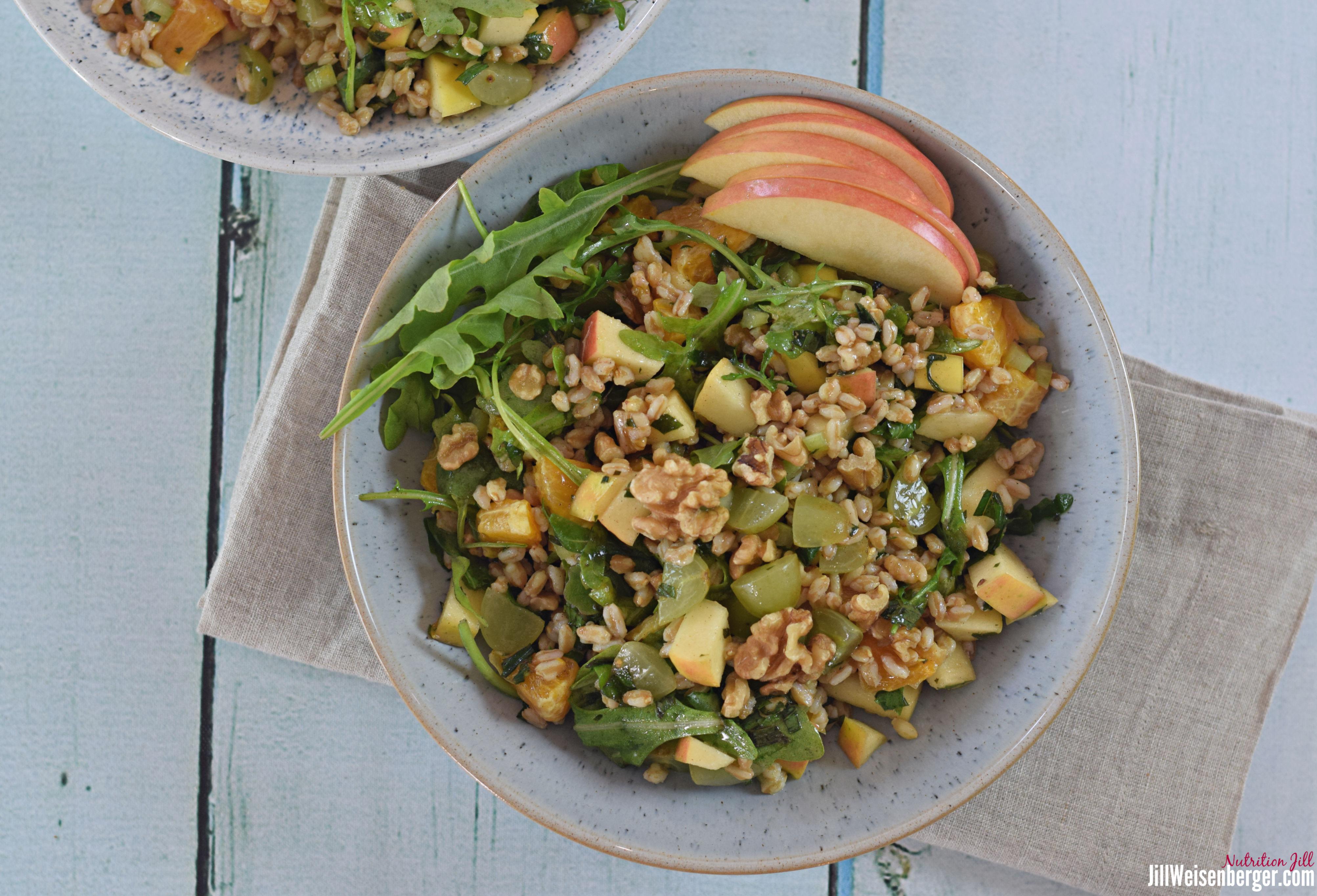 2 bowls of healthy farro waldorf salad