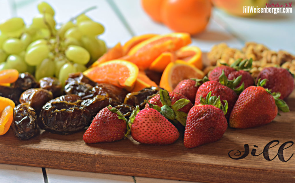 Fresh and dried fruit on a boar provide healthy carbs