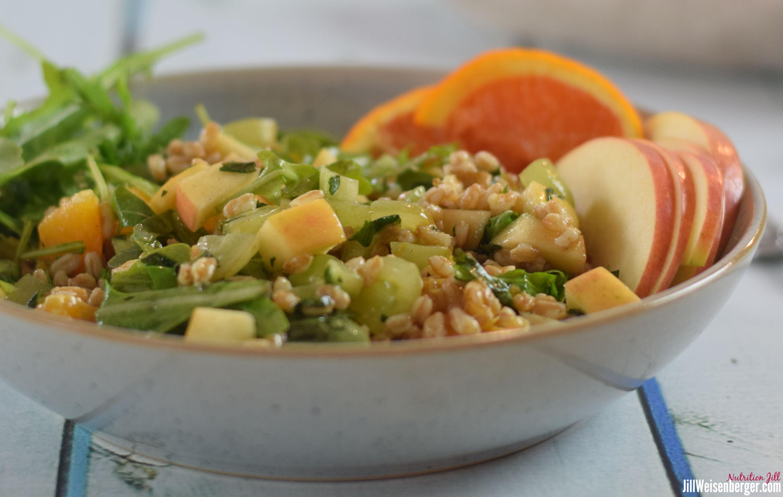 waldorf farro salad in a bowl