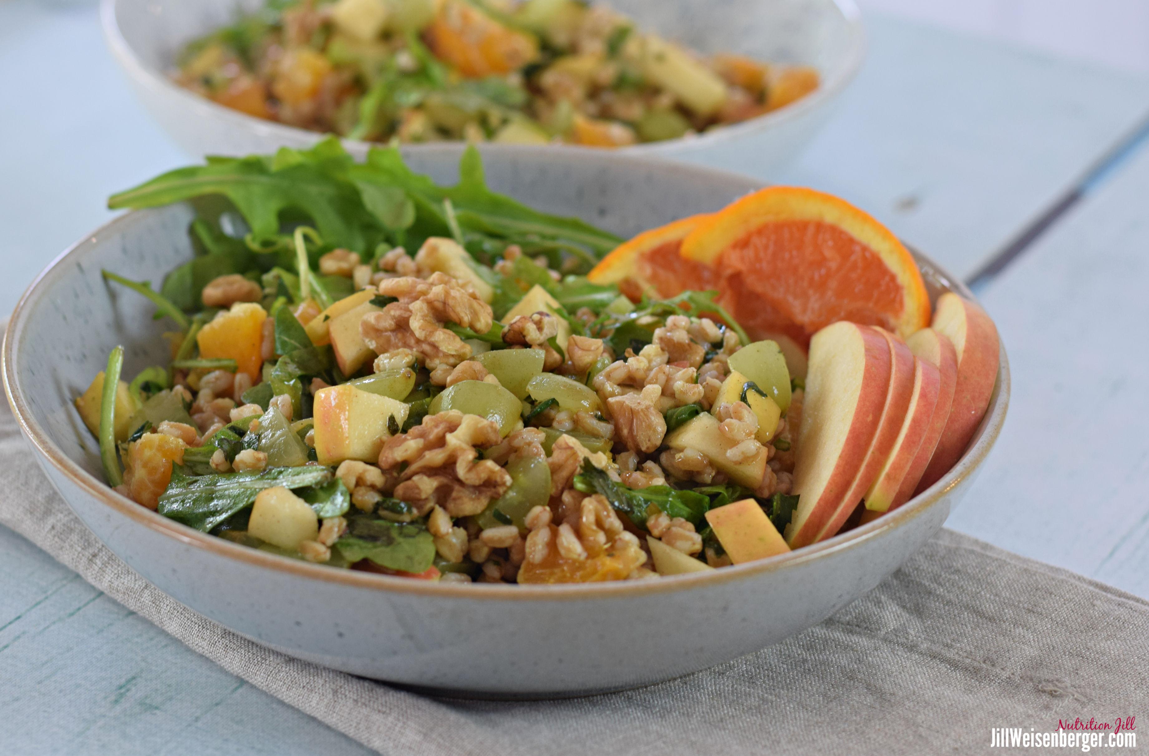 farro salad in blue bowl