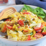 close up of summer squash salad with basil