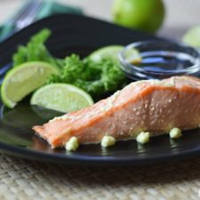 Wasabi salmon with lime as part of a brain healthy diet