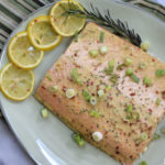 honey mustard salmon on green platter