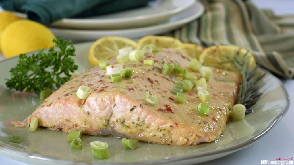 honey mustard salmon on plate