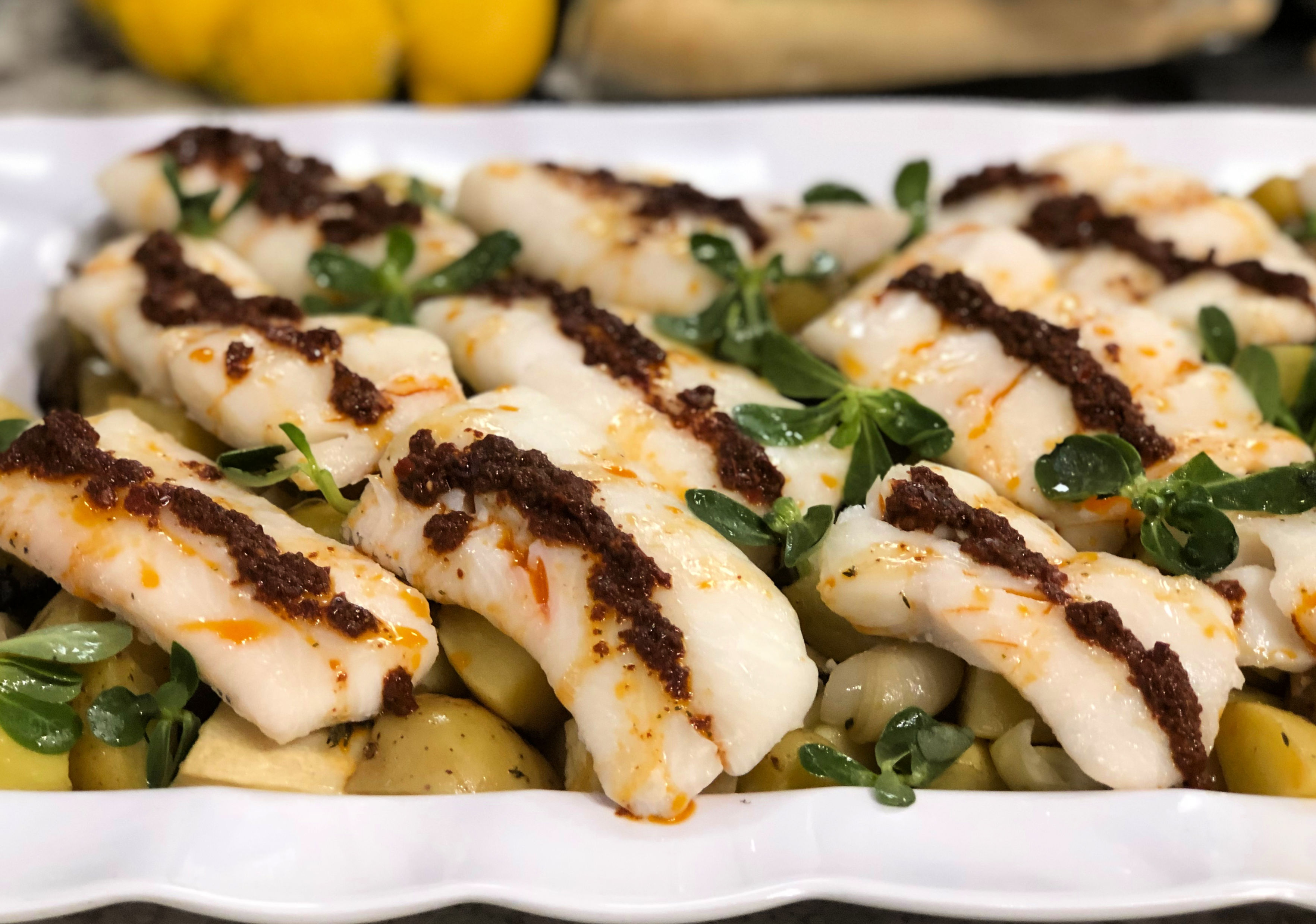 Norwegian Haddock with Harissa vinaigrette