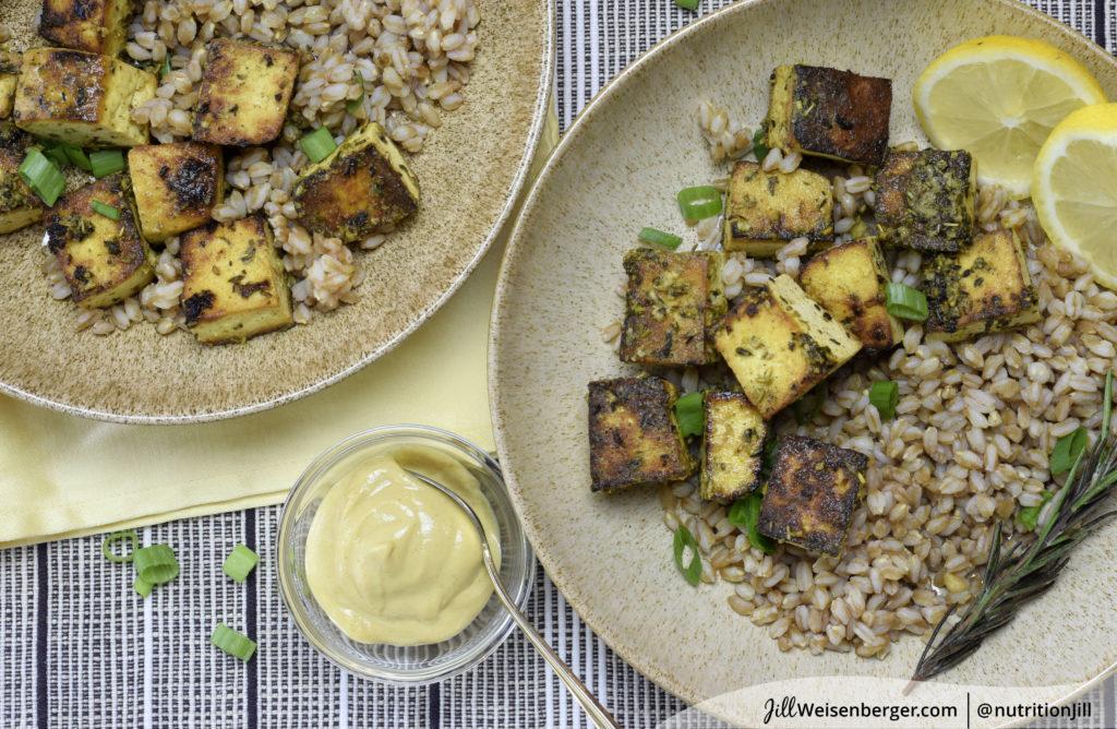 healthy marinated tofu recipe with lemon, mustard and herbs