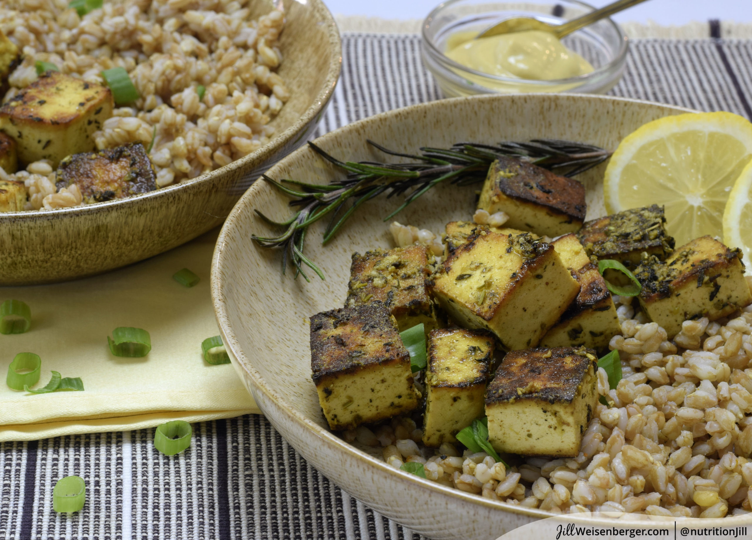 lemon mustard tofu with herbs and farro
