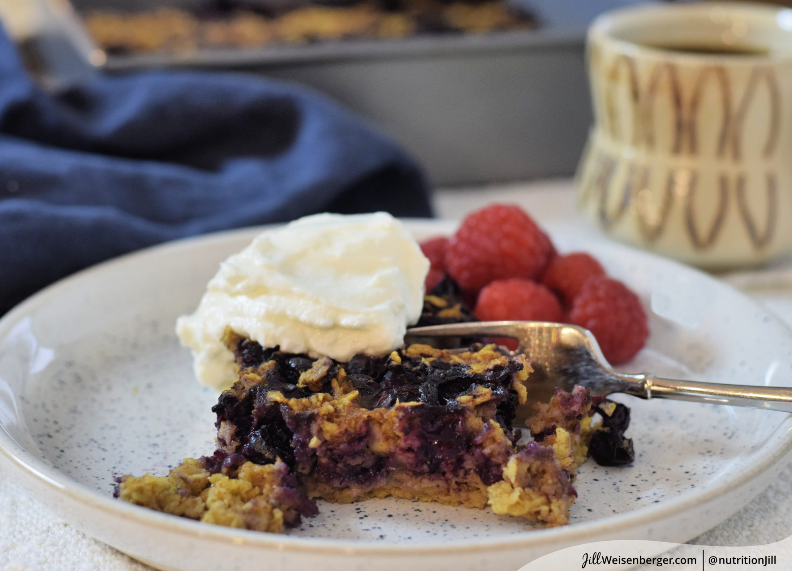 blueberry baked oatmeal recipe on plate with fork