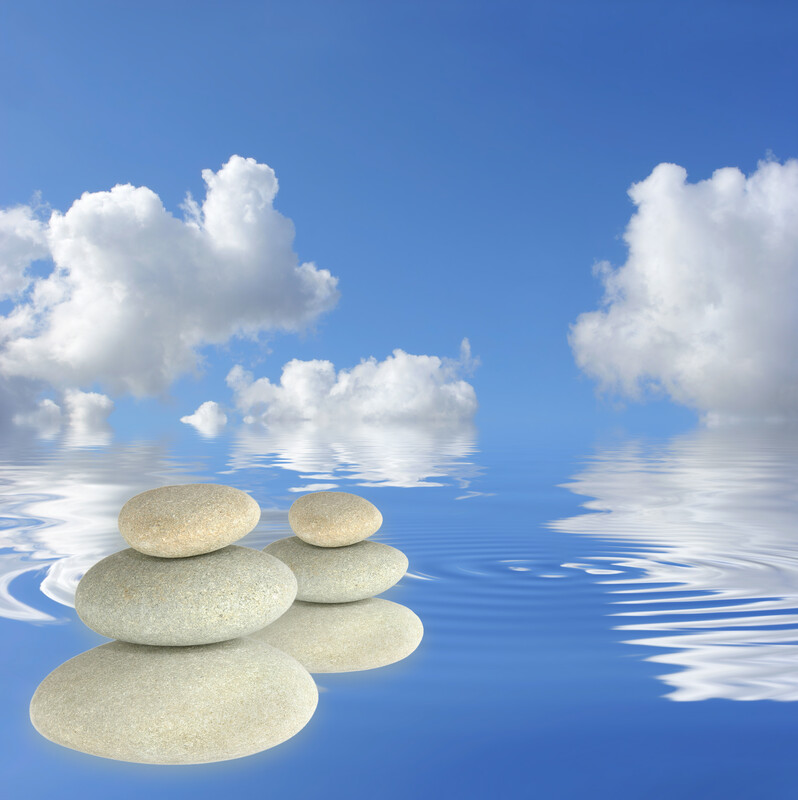 Clouds, water and stones