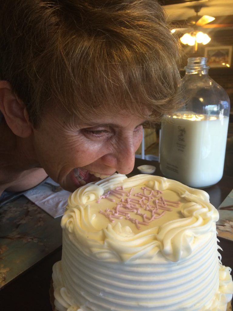 Face first into cake