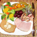 Plate Method with vegetables, bread and ham