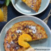 Healthy Passover brunch recipe - orange matzoh brei on a blue plate